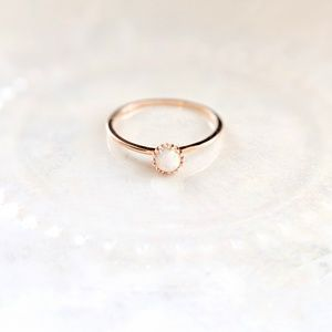 Rose gold coated opal ring